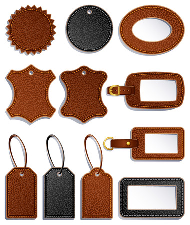 set of leather luggage labels and tag Vector