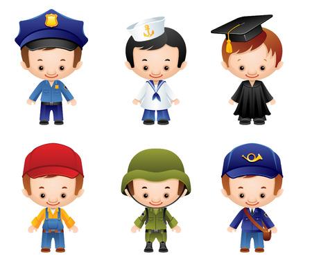 cartoon soldat: Satz von Menschen Berufe Symbole Illustration