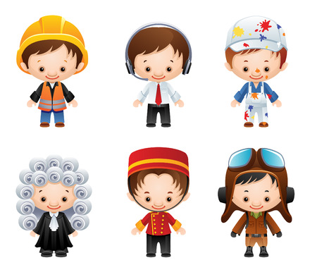 wig: set of people occupations icons