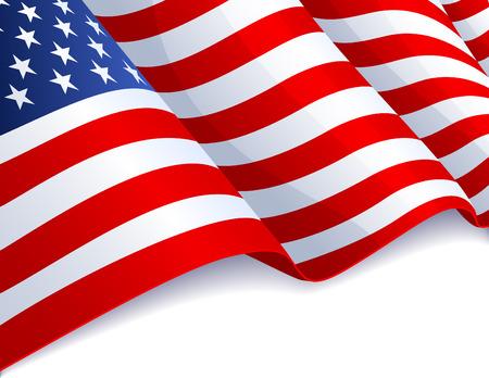 banderas americanas: Bandera de Estados Unidos en fondo blanco
