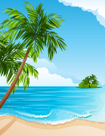illustration - Tropical landscape with beach, sea and palm trees Çizim
