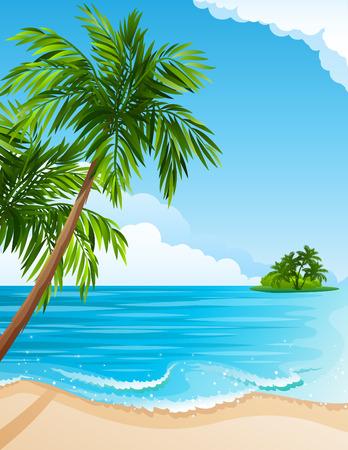 Ilustracja - Invest landscape drzewami plaży, Morza i Palma