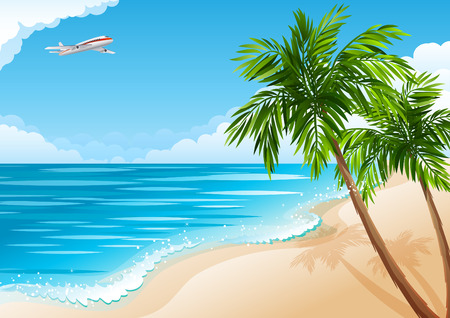 illustration - Tropical landscape with beach, sea and palm trees Vector