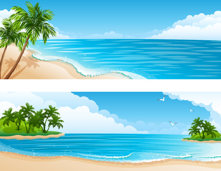 イラスト - ビーチ、海やヤシの木と熱帯の風景します。