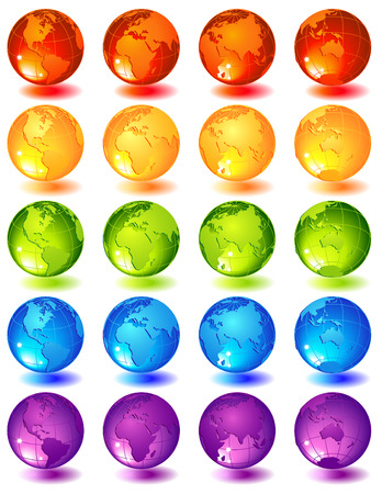 Vector illustration -20 multi-coloured glass globes Stock Vector - 6953396