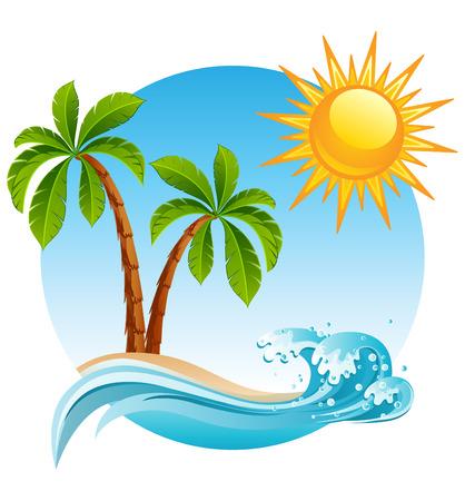 plante tropicale: illustration - deux-palmier sur le �le tropicale