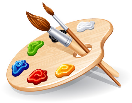 wood craft: Wooden palette with paints and brushes - illustration.