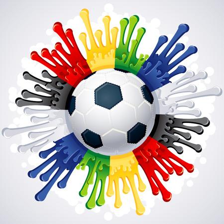 Ilustración - fondo de Copa del mundo con los colores de la bandera de Sudáfrica Vectores