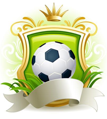 イラスト - サッカー ボール、盾および王冠とバナー