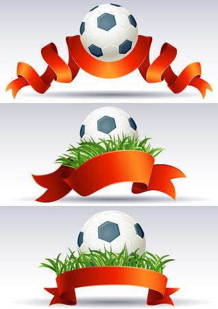 イラスト - サッカー ボールと赤いリボンとバナー