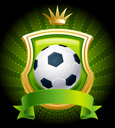 illustration - banners with soccer ball, shield and crown Vector