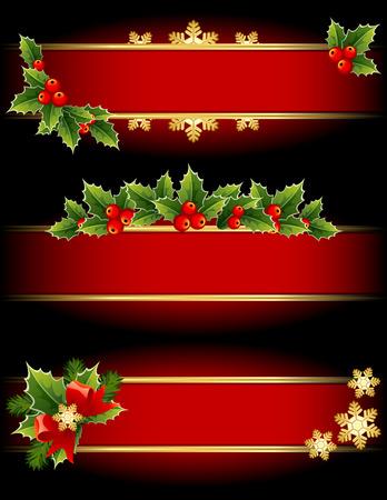 イラスト - 赤とゴールドのクリスマス バナーします。