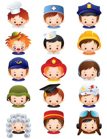house work: illustration - set of people occupations icons