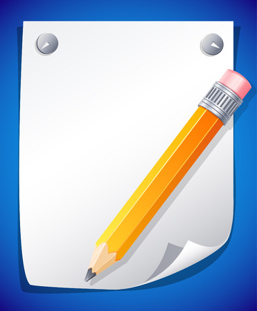 illustration - yellow pencil on the paper Stock Vector - 7066662
