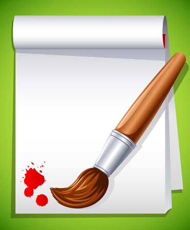 illustration - paintbrush on the drawing pad Illustration