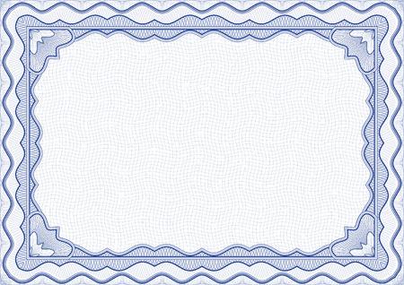ベクトル イラスト - 青の証明書テンプレート  イラスト・ベクター素材