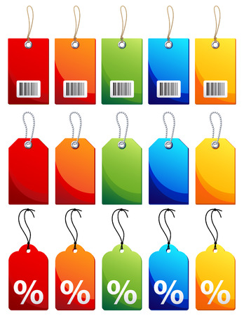 tag: Vector illustration - Colourful label icon set Illustration