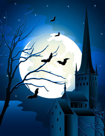 illustration - halloween background with full moon and castle Vector