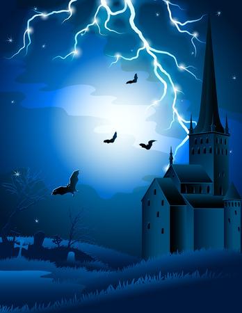 stein schwarz: Illustration - Halloween hintergrund mit Beleuchtung und castle