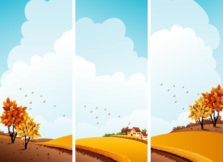 illustration - autumn rural landscape banners