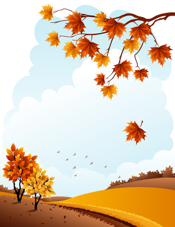 autumn landscape: illustration - autumn rural landscape and maple branch Illustration