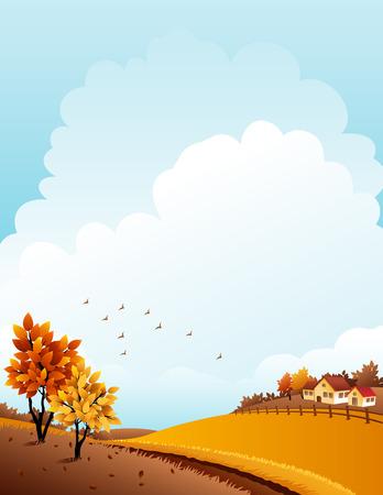yellow landscape: illustration - autumn rural landscape with farm