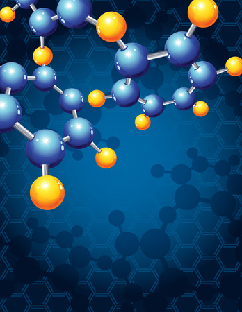 scientific: illustration - blue abstract background with molecular structure Illustration