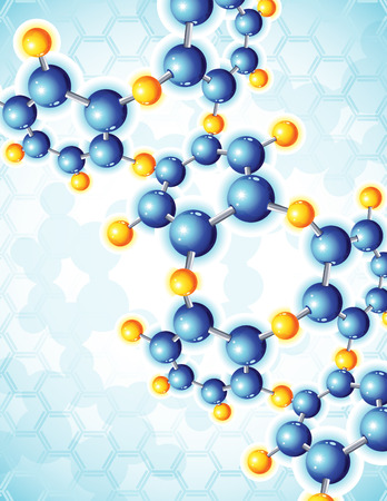 mol�cula:   illustration - blue abstract background with molecular structure
