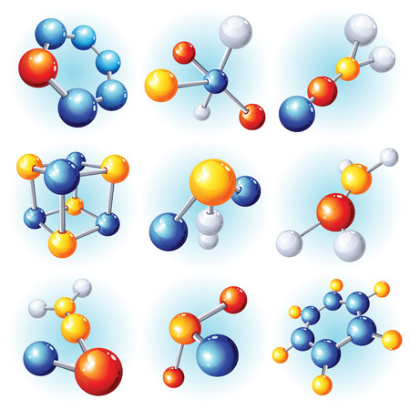 illustration -  abstract molecule icon set