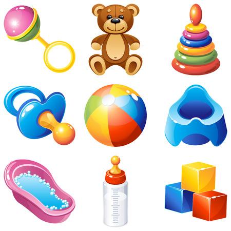 isolated objects: illustration - baby icons set