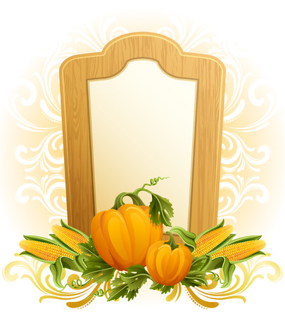 illustration - thanksgiving background with pumpkins and corn