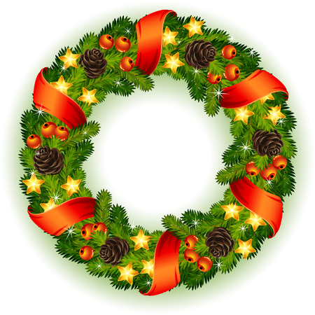 decorating christmas tree: Vector illustration - decorated christmas wreath