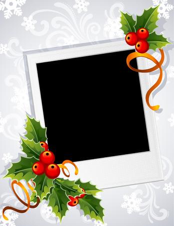 christmas photo frame: Vector illustration - Christmas photo frame with holly