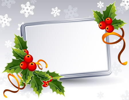 silver ribbon: Vector illustration -Christmas frame with holly Illustration