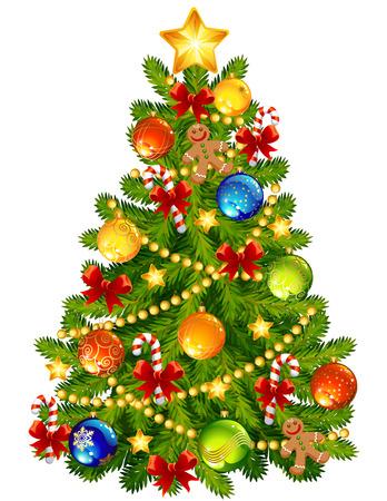 bright christmas tree: Vector illustration - Christmas tree