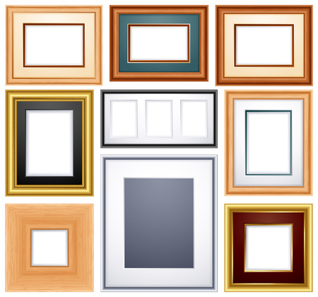 silver picture frame:   illustration -set of different frames from wood and metal Illustration