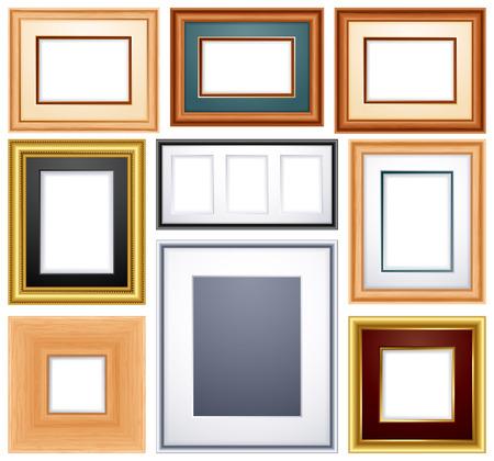 gold picture frame:   illustration -set of different frames from wood and metal Illustration