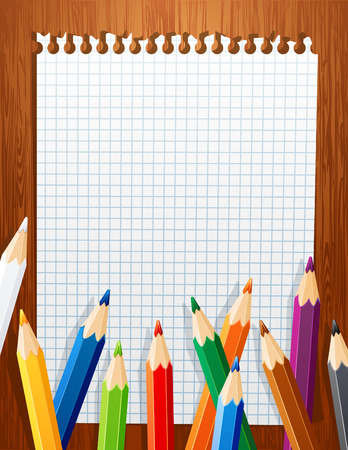 yellow notebook:  illustration - background with color pencils