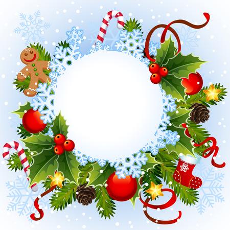 イラスト-クリスマス雪の結晶をフレーム