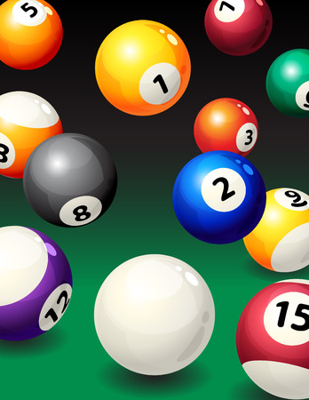 billiards tables: illustration - background with pool balls Illustration
