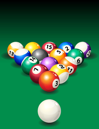 billiards tables:   illustration - background with pool balls