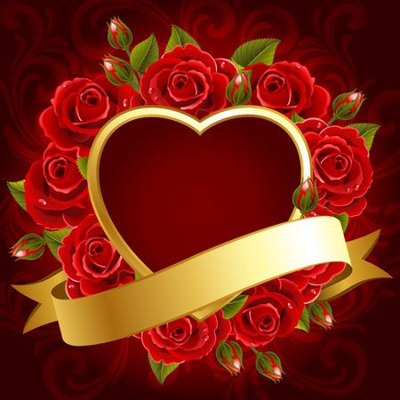 ornate gold frame: Ilustraci�n vectorial - fondo de d�a de San Valent�n con rosas y coraz�n