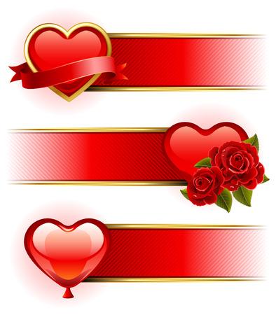 banner orizzontali: Illustrazione vettoriale - Valentino striscioni con rose e cuore Vettoriali