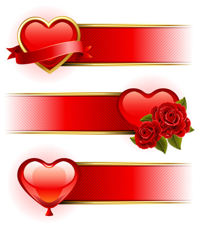 Vector illustration - Valentine's day banners  with roses and heart 矢量图像