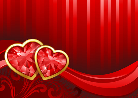 Vector illustration - Valentines day background with gems Vector