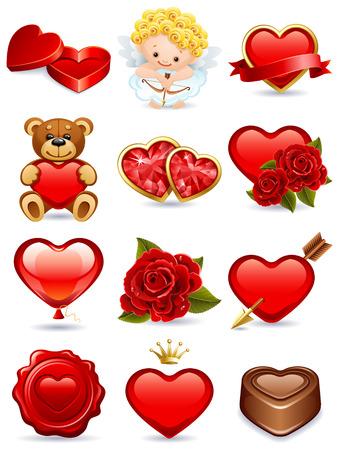 teddy: Illustration - Valentinstag vector Icon Set