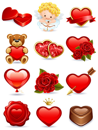 osos de peluche: Ilustraci�n - d�a de San Valent�n de vectores conjunto de iconos
