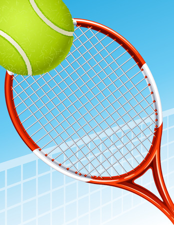 racket sport: Ilustraci�n vectorial - raqueta de tenis y pelota