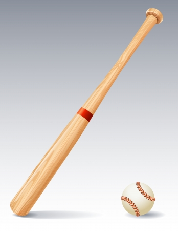 at bat: Vector illustration - Baseball bat and ball