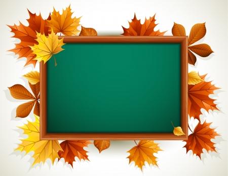 秋の紅葉木製黒板